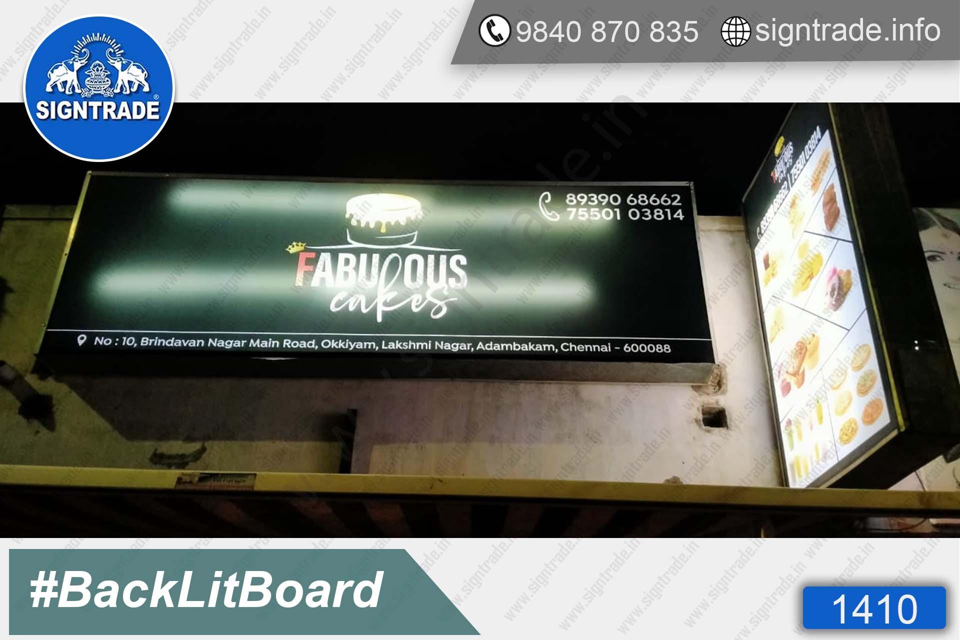 Fabulous Cakes - 1410, Flex Board, Backlit Flex Board, Star Backlit Flex Board, Backlit Flex Banners, Shop Front Flex Board, Shop Flex Board