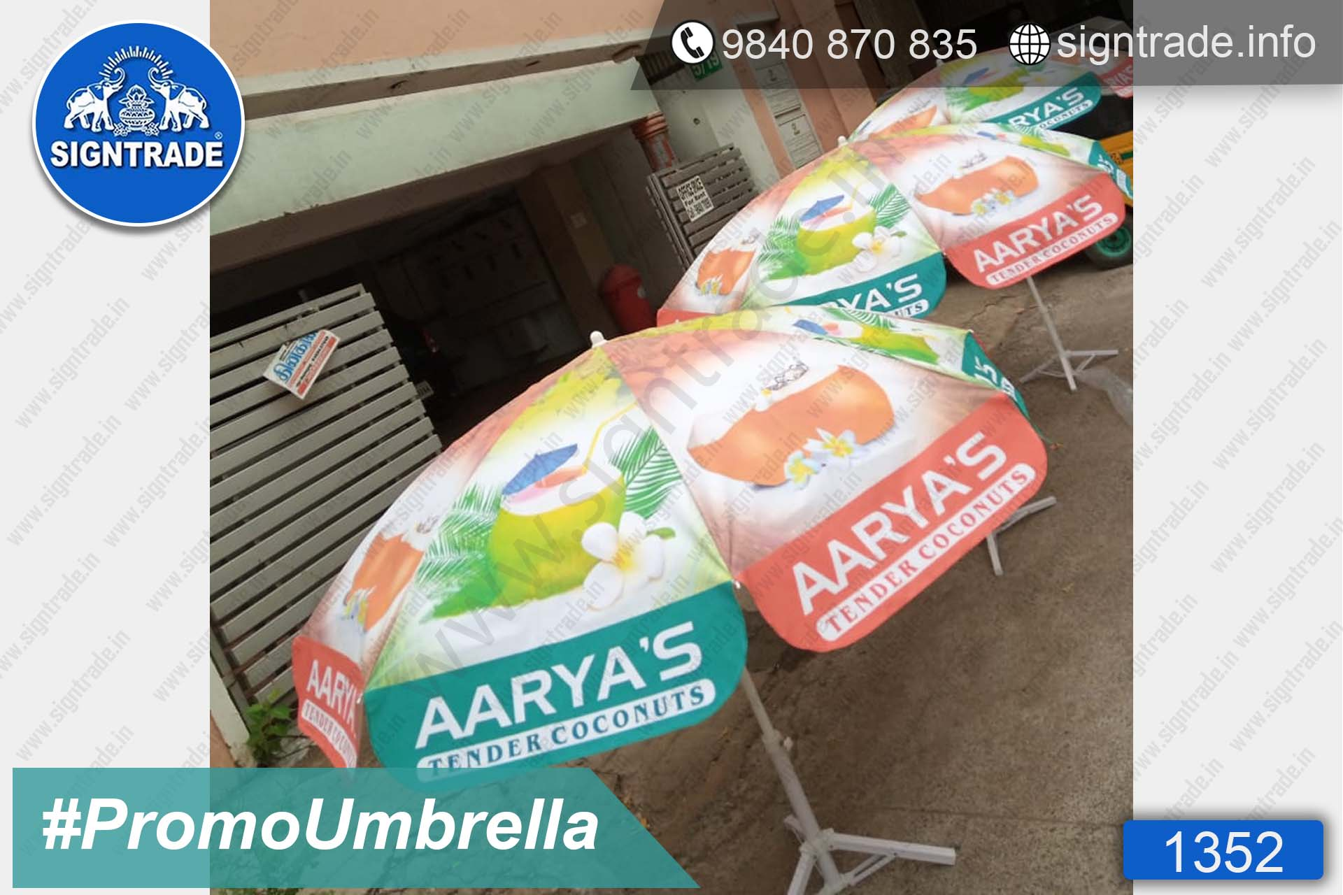 AARYA'S Tender Coconuts - Chennai - SIGNTRADE - Promotional Umbrella Manufactures in Chennai