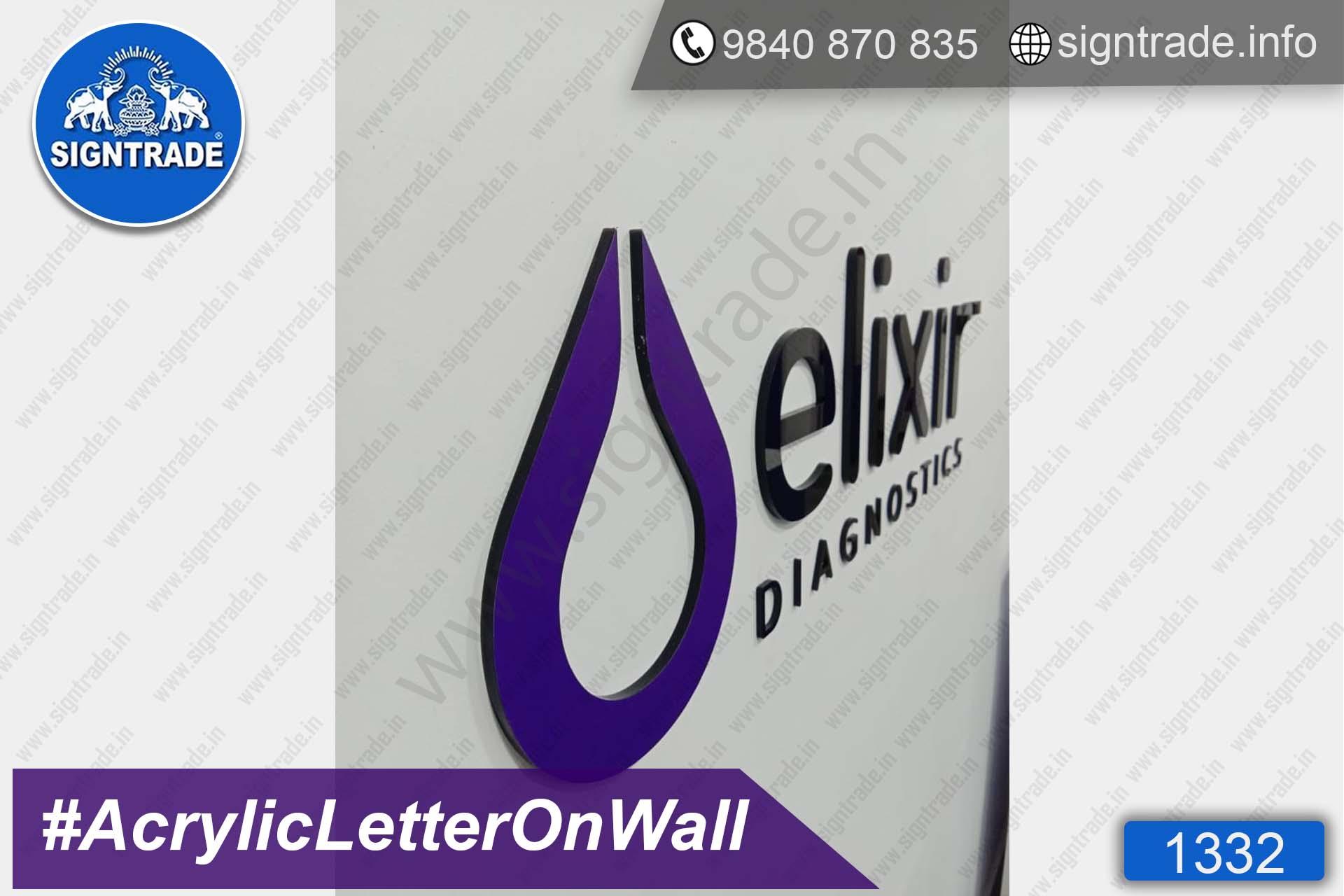 Elixir Diagnostic Centre - Anna Nagar - Chennai - SIGNTRADE - Acrylic Letter Pasted on Wall