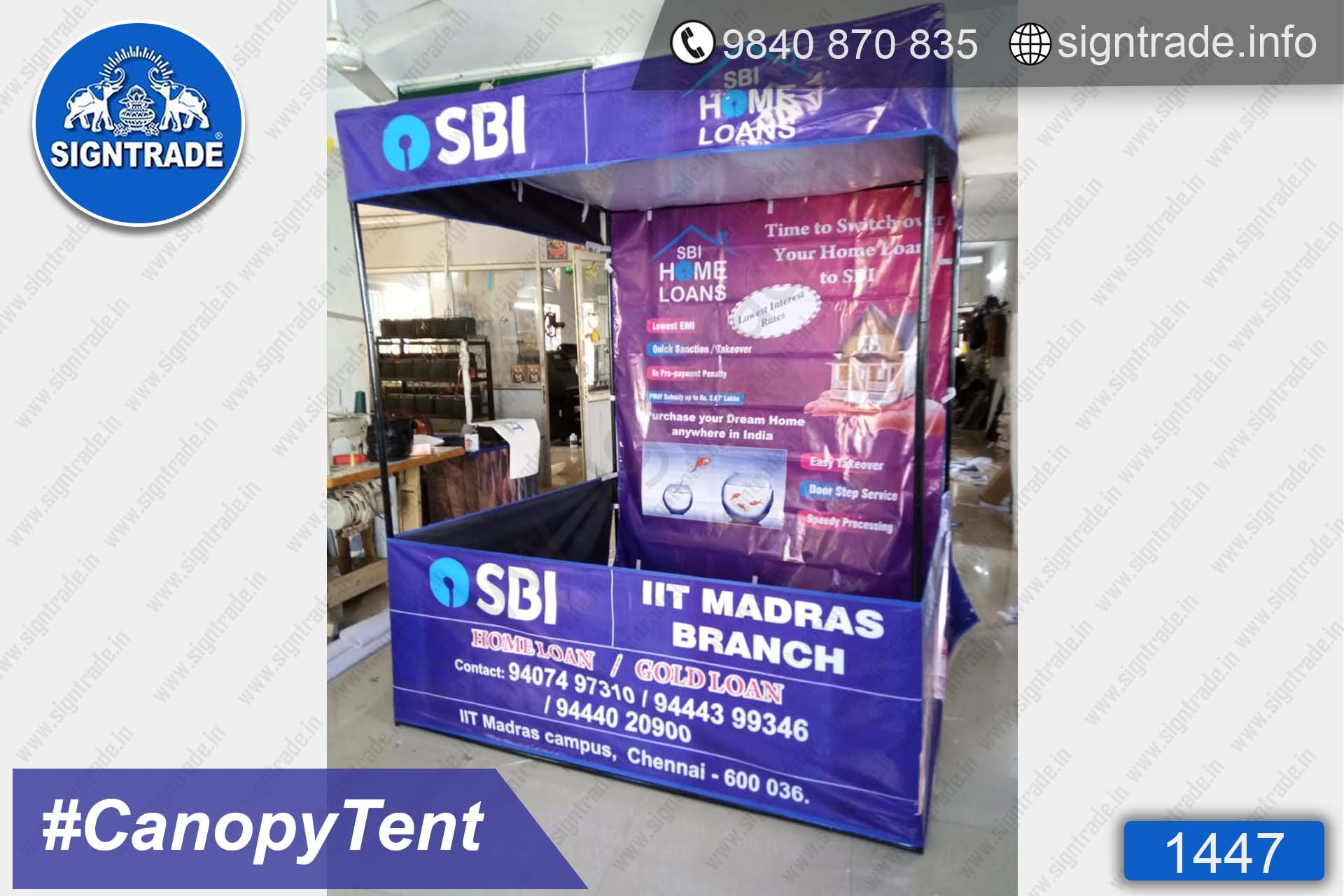 SBI Home Loan - 1447, Canopy tent, Flat roof tent, Promo tent, Promotional tent, Advertising tent, Promo Flag