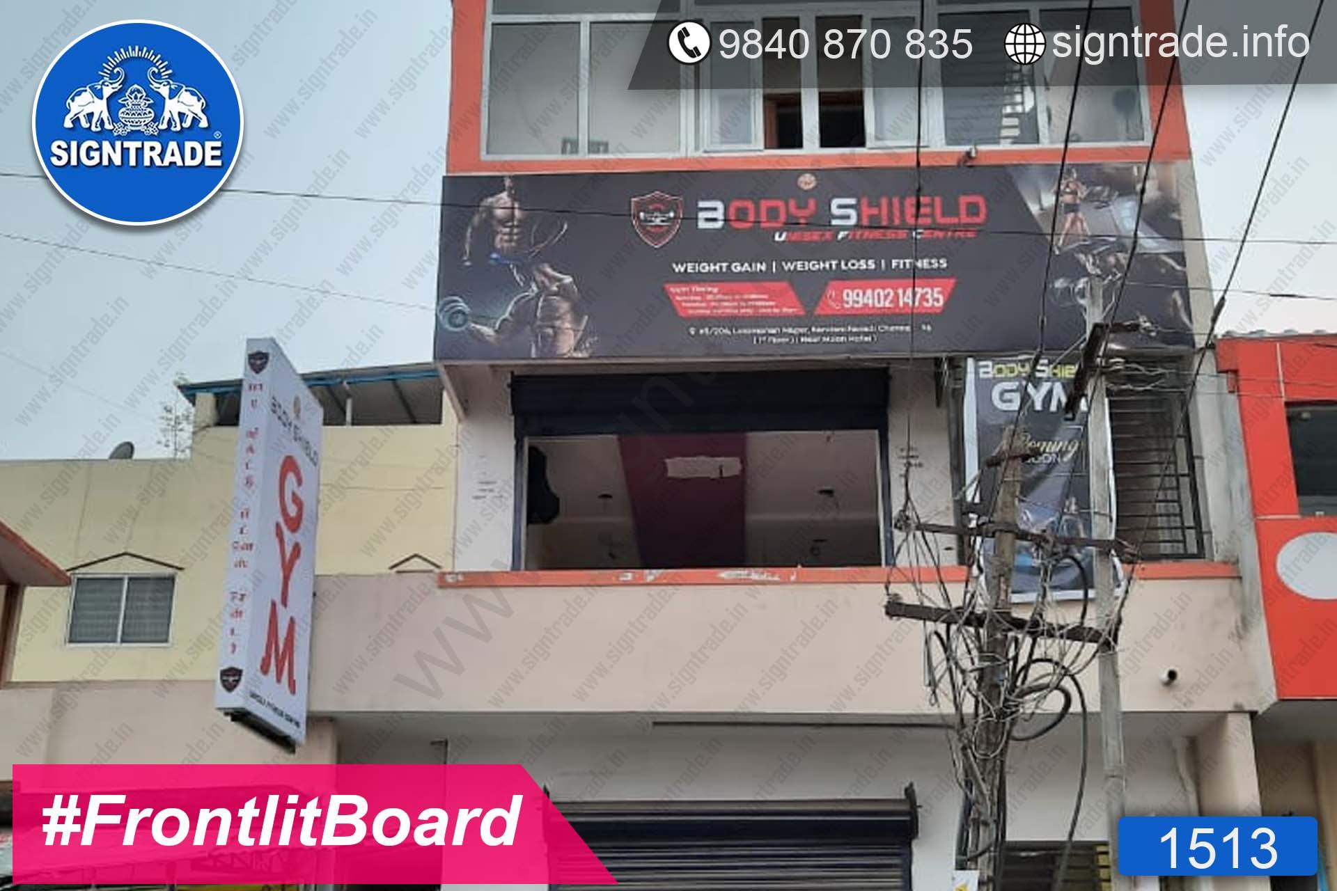 Body Shield Gym, Kandanchavadi, Chennai - SIGNTRADE - Digital Flex Printing Service - Frontlit Flex Board Manufacturers in Chennai